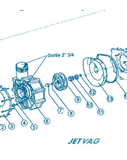 Nage à Contre courant - Moteur partie Avant - Num 13 - Flasque arrière pompe