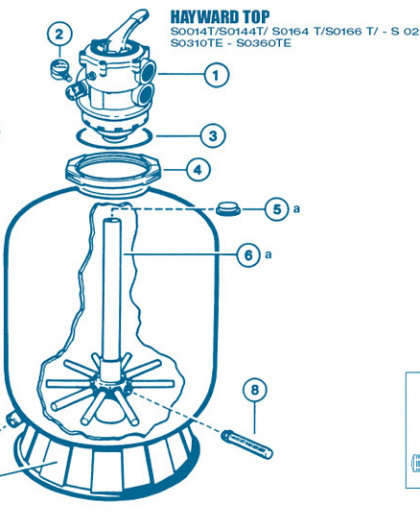 Filtre Top - Num 6b - Diffuseur inférieur Crépines et tube central S0164 et S0166T