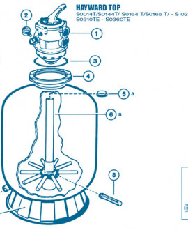 Filtre Top - Num 6b - Diffuseur inférieur Crépines et tube central S0244T