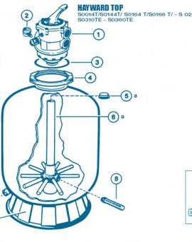 Filtre Top - Num 6b - Diffuseur inférieur Crépines et tube central S0310 et S0360TE