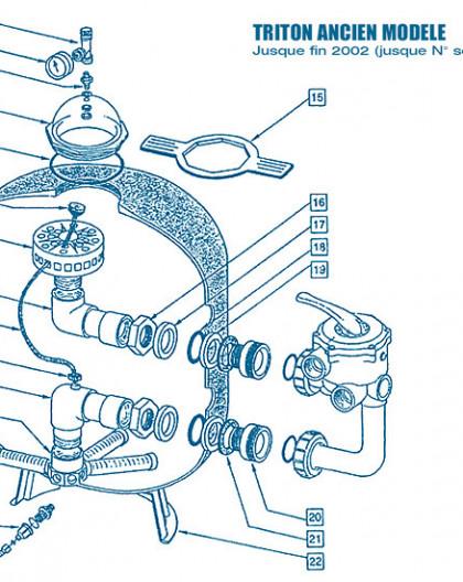 Filtre Ancien Modèle - Num 8 - Tube de distribution supérieur TR100