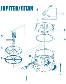 Vanne Jupiter Titan - Num 1 - Poignée avec goupille et bague vannes 1
