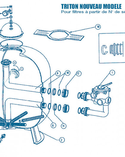 Filtre Nouveau Modèle - Num 9 - Tube de distribution supérieur pour TR140