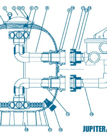 Filtre Side - Num 15 - Kit diffuseur inférieur sans crépines 14 m3