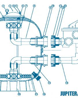 Filtre Side - Num 15 - Kit diffuseur inférieur sans crépines 22 m3