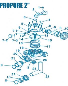 Vanne Propure 2 pouces - Num 7-2 + 7-3 - Manomètre + Joint torique manomètre