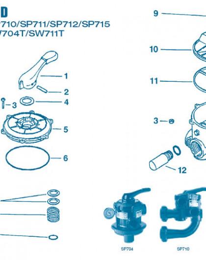 Vanne Num 3 - Jeu de vis + écrou (6) pour SP710, 711, 712, 715, 716 et SW711T