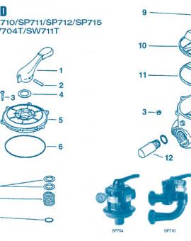 Vanne Num 5 - Couvercle + poignée et boisseau pour SP704 et SW704T