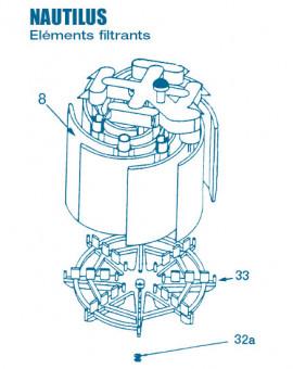Filtre Gamme Nautilus FNS 24, 36, 48, 60 - Elément Filtrant - Num 8 - Elément filtrant FNS 24 Hauteur 30,5 cm