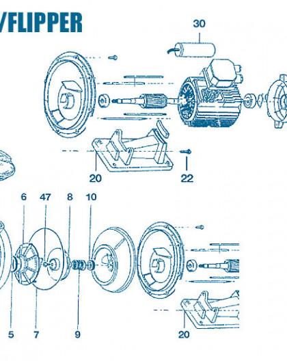 Pompe EuroFlip - Flipper - Num 41 - Capot ventilateur 1 - 2CV - 3 - 4CV - 1CV