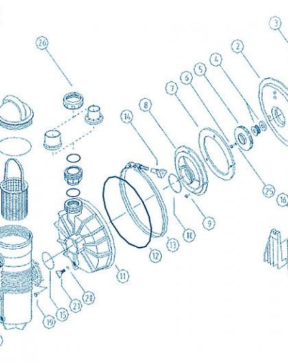 Pompe Challenger - Num 5 + 7 + 8 + 10 - Ensemble rotor + plaque de montage + diffuseur et joint 0 75KW