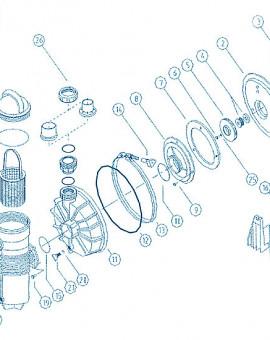 Pompe Challenger - Num 5 + 7 + 8 + 10 - Ensemble rotor + plaque de montage + diffuseur et joint 1