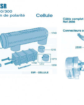 Electrolyseur Promatic ESR sans inversion polarité 160-200 et 240-300 - Cellule - Num 1103 - Vis écrou de détection gaz