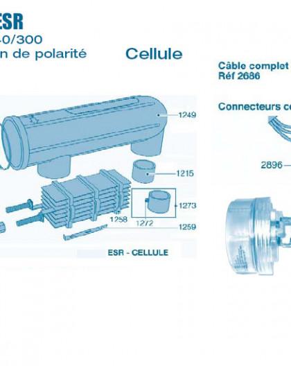 Electrolyseur Promatic ESR sans inversion polarité 160-200 et 240-300 - Cellule - Num 1103 - Vis écrou de détection gaz
