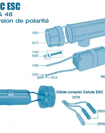 Electrolyseur Promatic ESC inversion de polarité 16 - 24 - 36 - 48 - Cellule - Num 1103 - Vis écrou de détection gaz