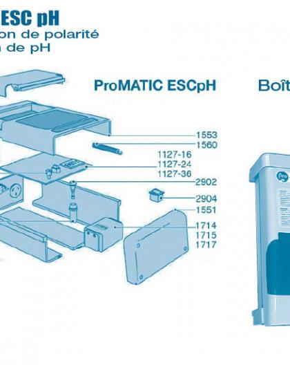 Electrolyseur Promatic ESC pH - Boitier - Num 1109-16 24 - Carte pompe ESC pH 16 et 24