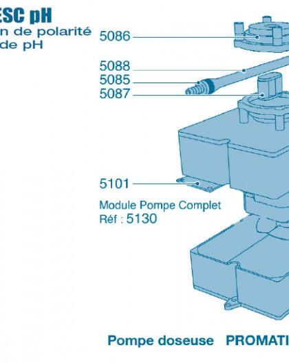 Electrolyseur Promatic ESC pH - Pompe Doseuse - Num 5085 - Connecteur 6 mm tuyau pompe