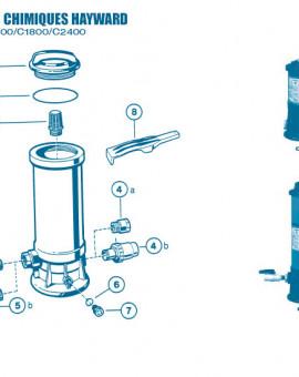Distributeur Chimique C0250 C0500 C1100 C1800 C2400 - Num 8 - Clé pour ouverture couvercle