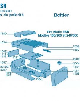 Electrolyseur Promatic ESR sans inversion polarité 160-200 et 240-300 - Boitier - Num 1502 - Plaque couverture composants