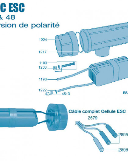 Electrolyseur Promatic ESC inversion de polarité 16 - 24 - 36 - 48 - Cellule - Num 1215 - Adaptateur cellule 63 - 50