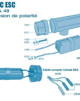 Electrolyseur Promatic ESC inversion de polarité 16 - 24 - 36 - 48 - Cellule - Num 1273 - Adaptateur complet avec prise de terre