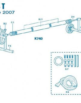 Pour Enrouleur Modèle T à partir 2007 - Num J-10 - Pied mobile côté roues