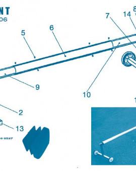 Pour Enrouleur Modèle T jusquà 2006 - Num 10 - Tube extrémité avec sortie daxe côté roues 2 m