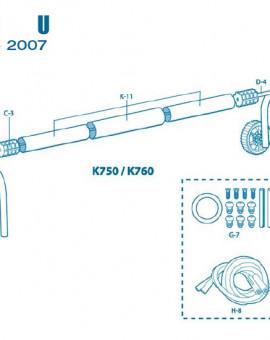 Pour Enrouleur Modèle U à partir 2007 - Num J-10 - Pied mobile côté roues