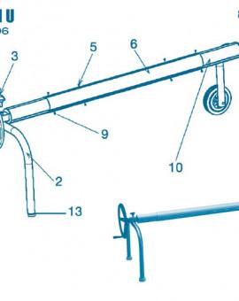 Pour Enrouleur Modèle U jusquà 2006 - Num 10 - Tube extrémité avec sortie daxe côté roues pour réf 36 795 0200 (2 m)