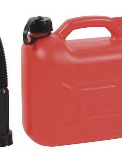 Jerrican plastique essence 10 L + bec verseur