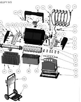 Vis accroche câble bleu pour SWEEPY M3, sur image Num 21