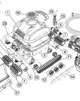 Patte centrale de la brosse pour PROTRAC QC, sur image Num 17