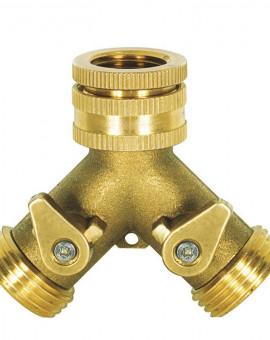 Nez de robinet laiton fileté F 20/27 (3/4'') avec 2 sorties filetées 20/27 M (3/4'')