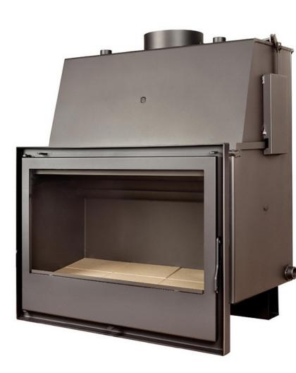 Insert chaudière à bois Modèle C670H + Cadre QUADRO complet 40MM verre cristal noir pour insert C670H