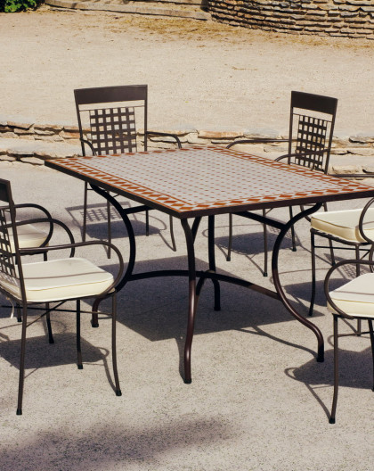 Salon de Jardin ATRIUM-VIGO 4 places | Table Mosaique | HEVEA mobilier de  jardin