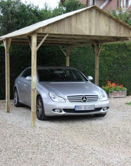 Carport Autoclavé 3x5m toit 2 pentes surface extérieure 15.00 m2