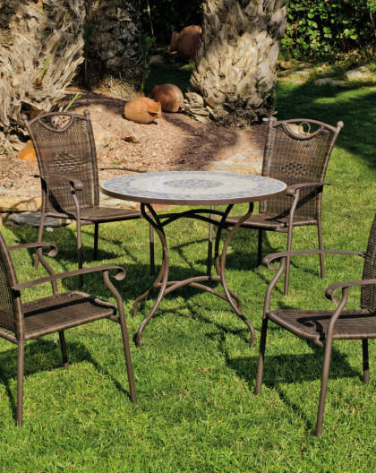 Salon de Jardin PROVENCE-VARS 4 places | Table Mosaique | HEVEA mobilier de  jardin