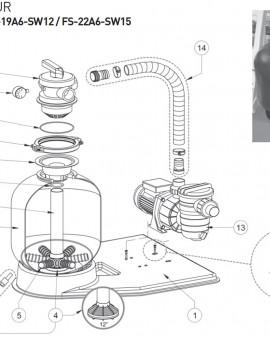 Tube central pour modèle FS-19A6-SW12 pour kit filtration sur platine AZUR - Num4