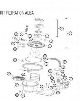 Bague serrage compl filtre K911/K912/K914 pour kit filtration sur platine ALBA - Num16