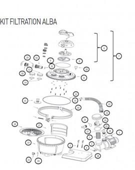 Joint de purge filtres K911 K912 et K914 pour kit filtration sur platine ALBA - Num20