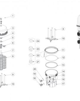 Collecteur inférieur pour filtre diatomée QUAD DE - Num10
